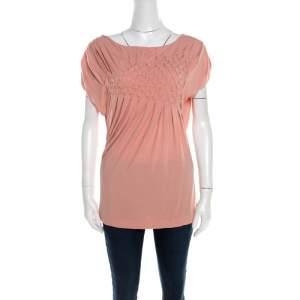 Escada Bellini Pink Diamond Pattern Pleated Jersey Cap Sleeve Estrelle Top M