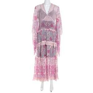 Escada Pink Abstract Print Crepe Silk Bead Embellished Kleid Maxi Dress M