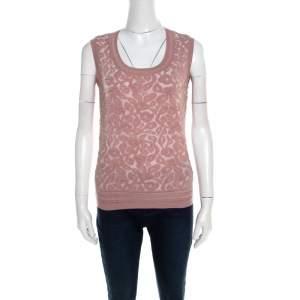 Escada Dark Tender Rose Floral Jacquard Knit Sleeveless Shela Top S