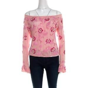 Escada Pink Tulle Overlay Floral Embellished Off Shoulder Blouse L