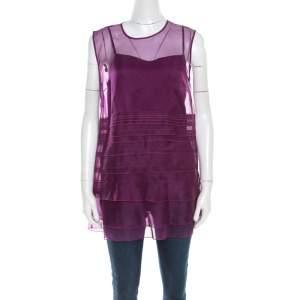 Escada Amethyste Purple Sheer Silk Sleeveless Norga Layered Top M