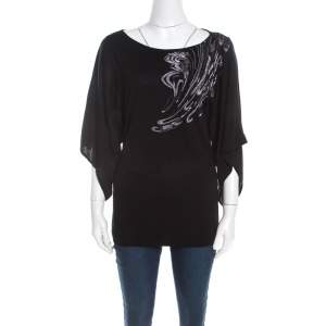 Escada Black Stretch Knit Embellished Waterfall Sleeve Top M