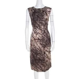 Escada Grey Mosaic Print Textured Silk Wool Sheath Dress L