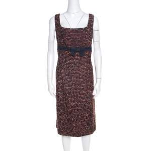 Escada Multicolor Tweed Denim Bow Detail Sleeveless Shift Dress XL