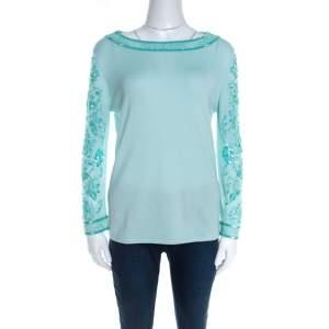 Escada Mint Green Knit Embellished Long Sleeve Top L