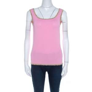 Escada Baby Pink Stretch Knit Sequined Lace Trim Sleeveless Top M