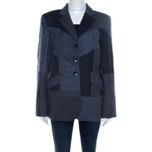 Escada Navy Blue Wool Blend Patchwork Blazer XL