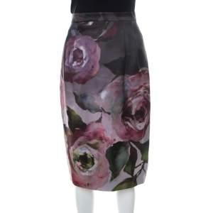 Escada Multicolor Floral Print Knee Length Sheath Skirt M