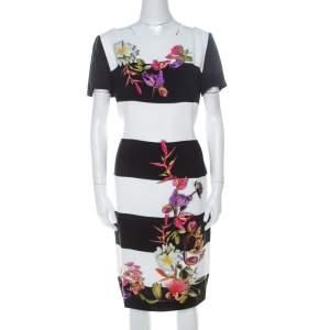 Escada Monochrome Floral Print Wide Striped Crepe Dkantus Shift Dress M
