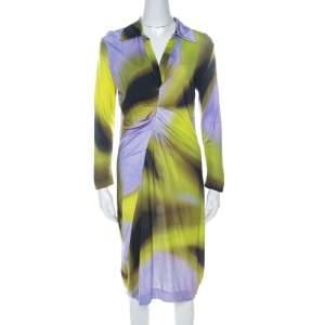 Escada Multicolor Fantasy Print Jersey Pleat Front Etiennise Dress M