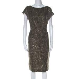 Escada Olive Green Sequinned Tweed Darouny Sheath Dress L