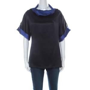 Escada Black and Indigo Silk Turtleneck Short Sleeve Top M