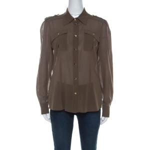 Escada Olive Green Cotton Gold Snap Button Detail Shirt M