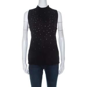 Escada Black Stretch Wool Embellished Sleeveless Lace Top XL