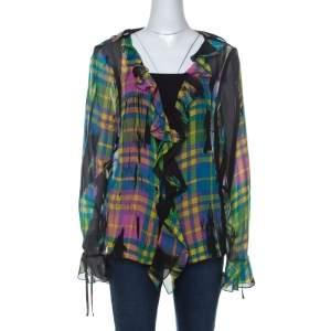 Escada Multicolor Plaid Print Silk Ruffle Detail Button Front Shirt XL