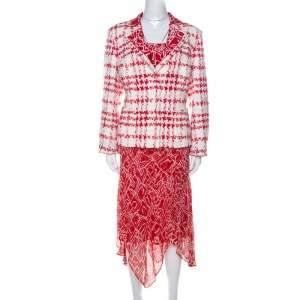 بذلة تنورة ثلاث قطع اسكادا حرير مطبوع و بوسل أحمر و أبيض XL