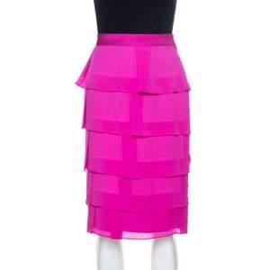 Escada Fuschia Pink Silk Tiered Skirt L