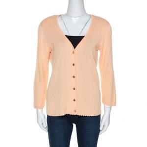 Escada Peach Rib Knit Padded Shoulder Button Front Cardigan M