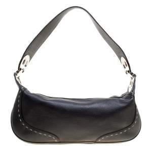 Escada Black Leather Eluna Shoulder Bag