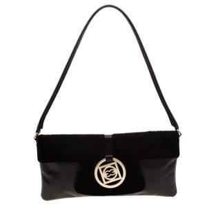 Escada Black Leather and Calfhair Shoulder Bag