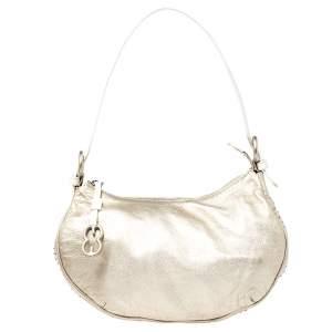 Escada Gold/White Leather Beaded Shoulder Bag