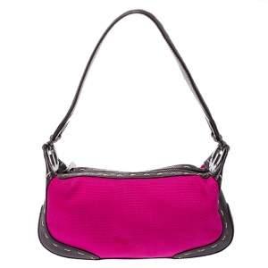 Escada Magenta/Dark Brown Leather and Canvas Small Eluna Shoulder Bag