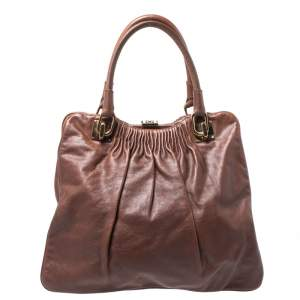 Escada Brown Pleated Leather Frame Tote