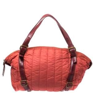 Escada Orange Nylon and Leather Shoulder Bag