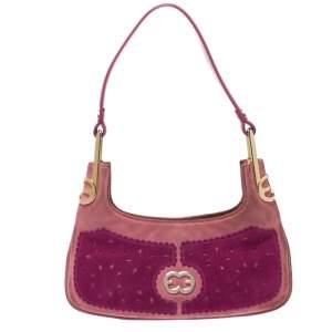 Escada Pink Nubuck and Leather Pochette Bag