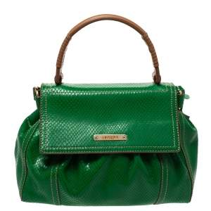 Escada Green Snakeskin Embossed Leather Top Handle Bag