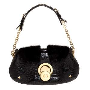 Escada Black Croc Embossed Leather and Mink Fur Ring Flap Shoulder Bag