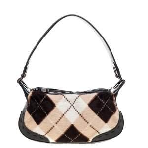 Escada Black/Multicolor Calfhair and Leather Shoulder Bag