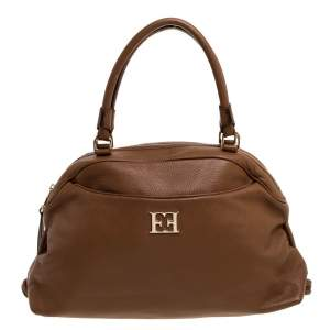Escada Brown Leather Metal Logo Satchel
