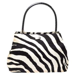 Escada Monochrome Zebra Print Fabric Flap Top Handle Bag