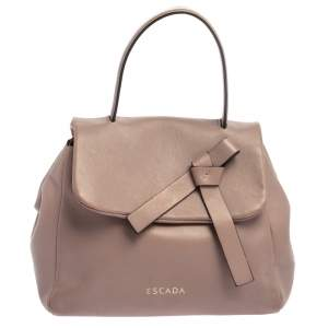 Escada Old Rose Pink Leather Bow Top Handle Bag
