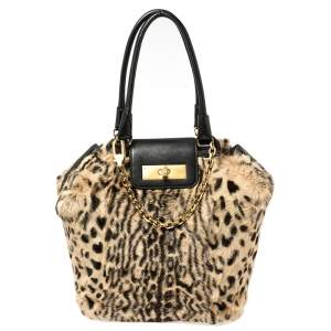 Escada Black/Beige Tiger Print Faux Fur and Leather Turnlock Flap Tote