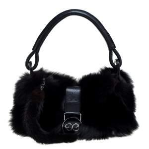 Escada Black Mink Fur And Leather Ring Shoulder Bag