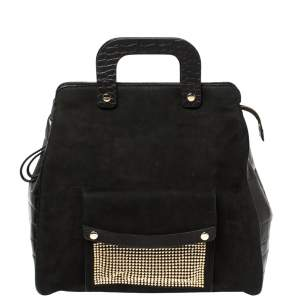 Escada Black Croc Embossed Leather and Suede Convertible Tote