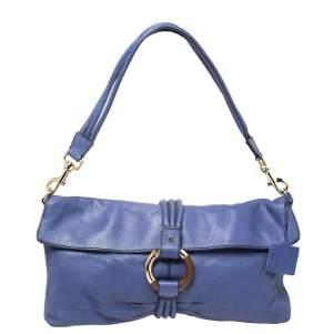 Escada Purple Leather Flap Shoulder Bag