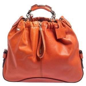 Escada Burnt Orange Textured Leather Zip Detail Shoulder Bag