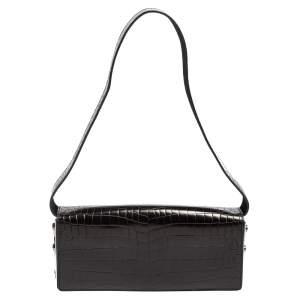 Escada Black Croc Embossed Leather Baguette