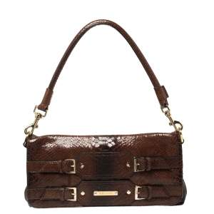 Escada Ombre Brown Python Embossed Leather Buckle Flap Shoulder Bag