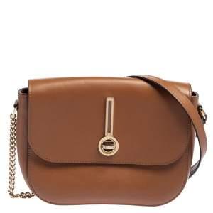 Escada Brown Leather Flap Crossbody Bag