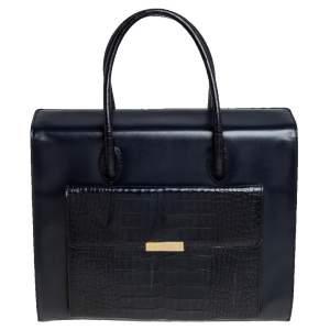 حقيبة يد توتس إسكادا ميدنايت جيب أمامي جلد بنقشة التمساح وجلد أزرق