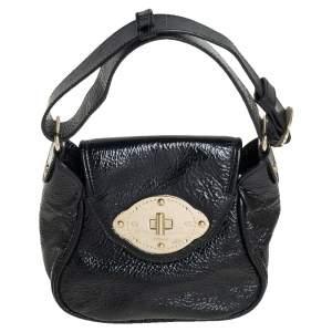 Escada Black Textured Patent Leather Turnlock Flap Baguette Bag