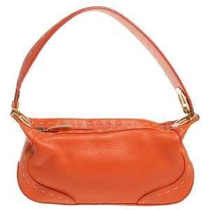 Escada Orange Leather Eluna Baguette Shoulder Bag