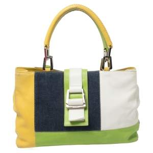Escada Multicolor Denim and Leather Patchwork Flap Tote