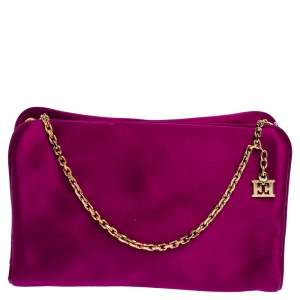 Escada Pink Satin Chain Shoulder Bag