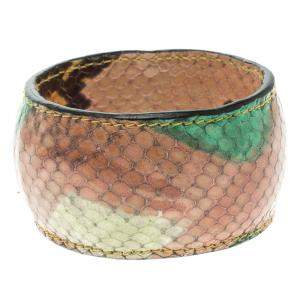 Etro Multicolor Printed Leather Wide Bangle Bracelet 20cm