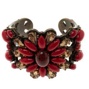 Etro Red Cabochon & Crystal Flower Statement Open Cuff Bracelet